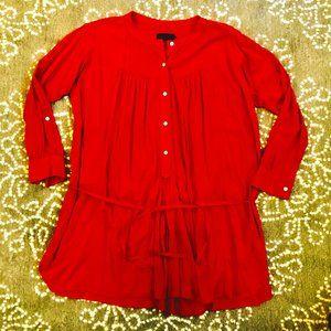 Hatch Collection Reddish orange Belted Shirtdress